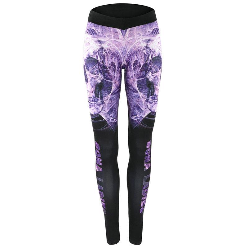 Wholesale Hot New 2017 Pants High Waist Floral Printed Leggings Purple Blue Ombre Womens Tracksuit Fitness Pants