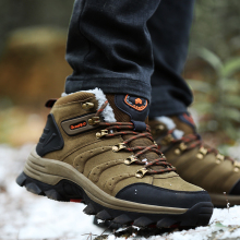 New Winter Mens Nubuck Leather Hiking Boots Anti-skid Wear Fishing Shoes  Couples' Climbing High Top Camping Warm Shoes With Fur