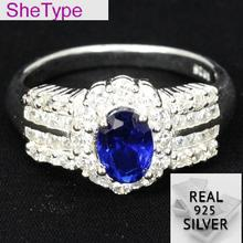 US sz 7.5# SheType 3.7g Elegant Blue Sapphire Natural White CZ Gift For Womans 925 Solid Sterling Silver Rings 18x11mm