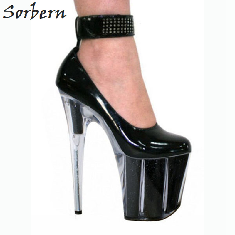 76559228126 Sorbern Extreme High Heels Ankle Straps Women Pumps Thick Platform Shoes  Women Exotic Dancer Shoes Lady Gaga Summer Shoes