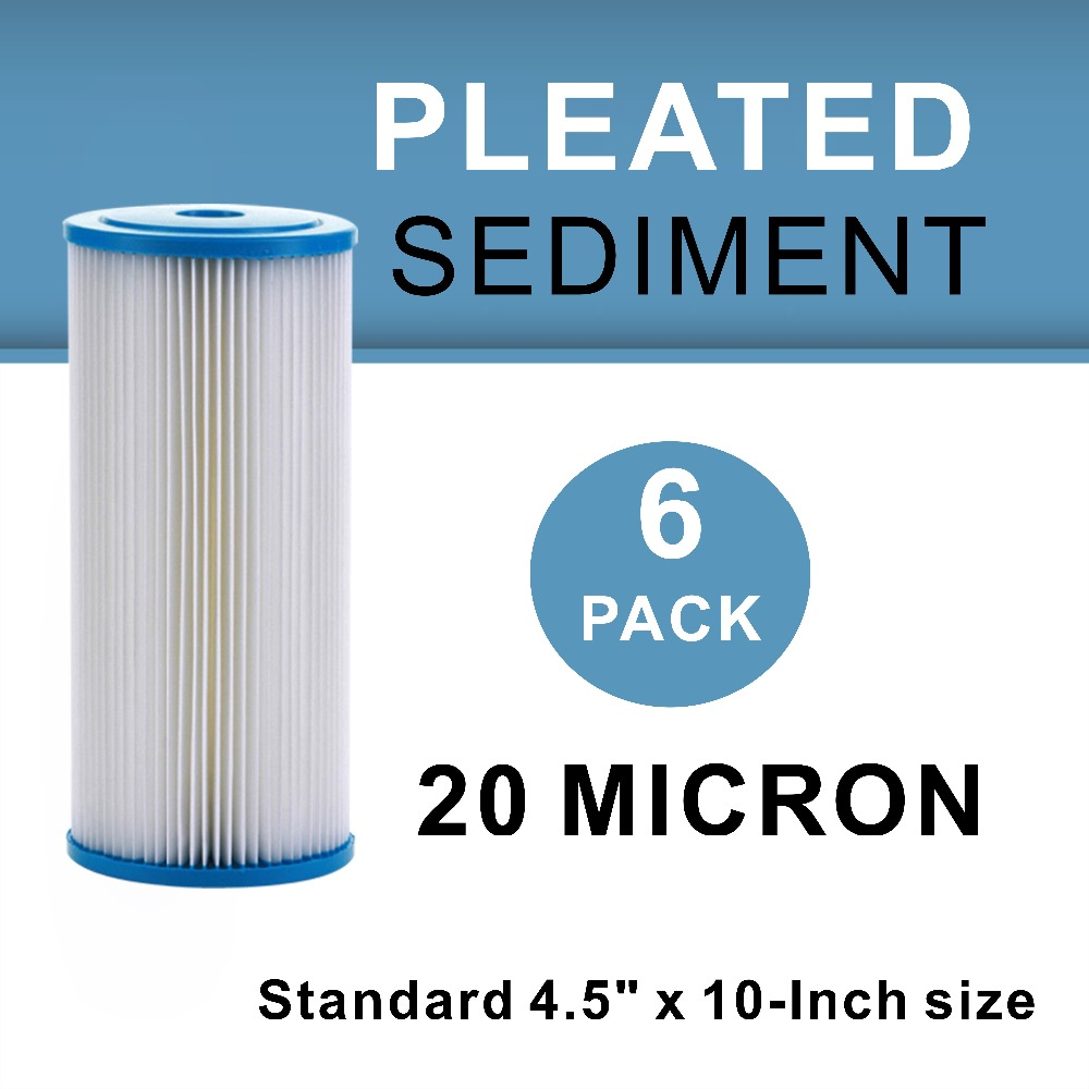Whole House 4 5 quot x 10 quot Sediment Pleated Water Filter 20 Micron 6PCS in Water Filter Parts from Home Appliances