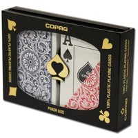 Invisible Marked Copag 1546 RB Poker Size Jumbo Index Double Deck Plastic Playing Cards Waterproof