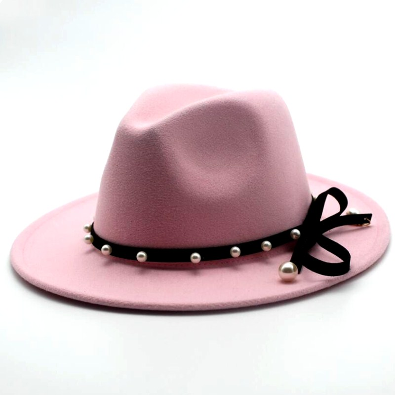 Seioum Wide Brim Autumn Female Fashion pearl Top hat Jazz Cap Winter Fedora Hat For men Wool Hat Fashion Chapeau Femme pink Hats