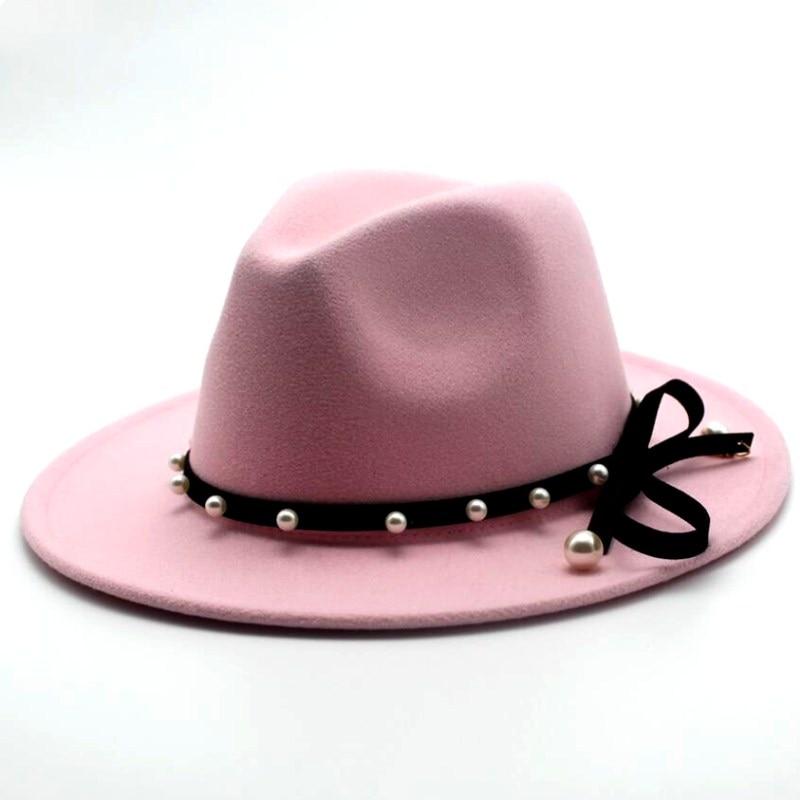Seioum Wide Brim Autumn Female Fashion pearl Top hat Jazz Cap Winter Fedora Hat For men Wool Hat Fashion Chapeau Femme pink Hats