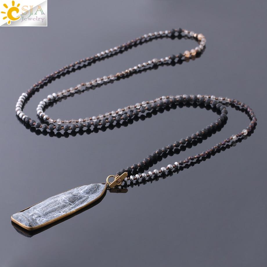 CSJA Thai Small Crystal Beads Long Necklace Carved Sakyamuni Buddhism Pendant Buddha Guardian Amulet Women Men Prayer Gift S254