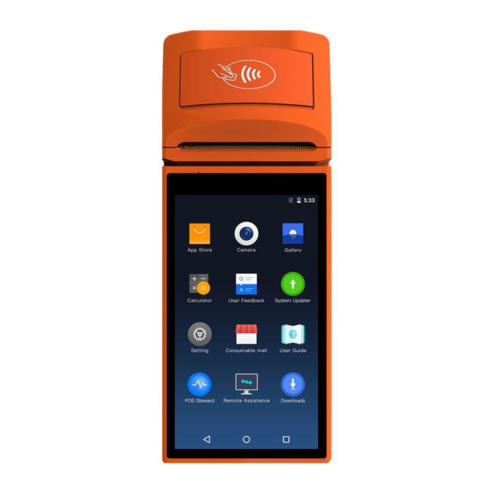 "5.5 ""hd Android 6.0 Draagbare Pos Terminal 3g 4g Handheld Bluetooth Pda Emv Sim Psam Wifi Gprs Met Bonprinter Voor Betaling"