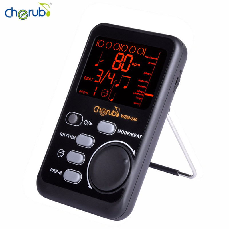 Cherub WSM-240 Protable Drum Universal Electronic Guitar Bass Metronome Metro-tuner Rhythm Device Drum Piano Digital Metronome cherub wsm 330 mechanical metronome for guitar violin piano zither