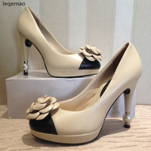 Hot Sale Women Pumps Genuine Leather High Quality Flowers Pearls Heels Beige Black Colors Office Lady Wedding Party Shoes 35-40