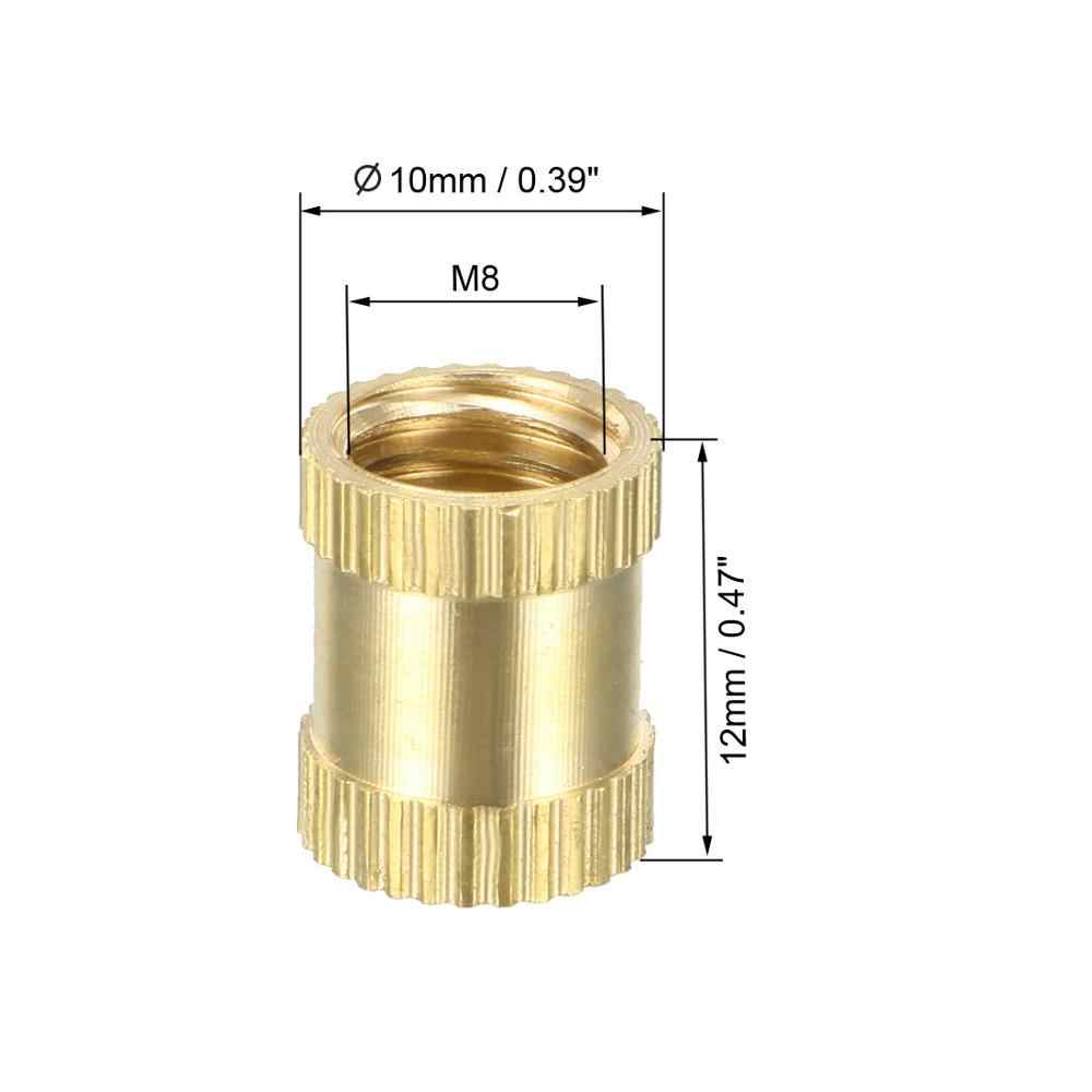 "UXCELL Gekartelde Schroefdraad Insert Noten 1/4 ""-20x6mm (L) x8mm (OD) /M3/8x5/12/16mm (L) x4/10mm (OD) Binnendraad Messing Inbedding Moer 10 PCS"