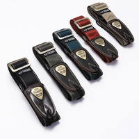 Soldier Polyester Cotton Guitar Strap With Leather Ends For Acoustic Electric Bass Adjustable Metal Button Guitar Strap Parts