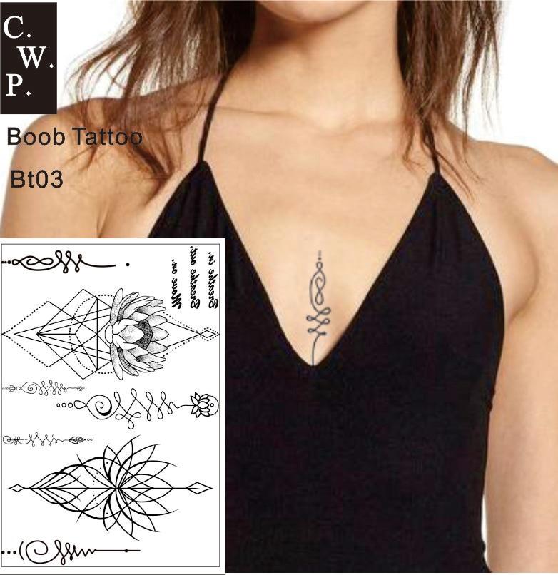 Us 149 25 Offbt03 1 Kawałek W Boob Mostka Tymczasowy Tatuaż Z Unalone Duchowe Symboli Loutus Wzór Body Art W Tymczasowe Tatuaże Od Uroda I