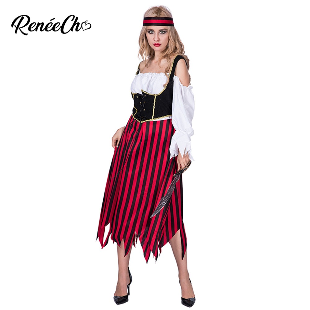 <font><b>Halloween</b></font> Costumes For Women Adult Pirate Maiden Costume <font><b>Sexy</b></font> Buccaneer Cosplay <font><b>Queen</b></font> Of The High Seas Dress And Headband Set image