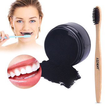 1 Natural Teeth Whitening Powder Oral Care Activated Charcoal Tooth Whitener Powder Coconut Herbal Clove Toothpaste Toothbrush