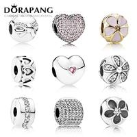 DORAPANG 925 Sterling Silver Pan Safety Clip Crystal Heart Shaped Charm Beads Collocation Bracelet DIY Factory