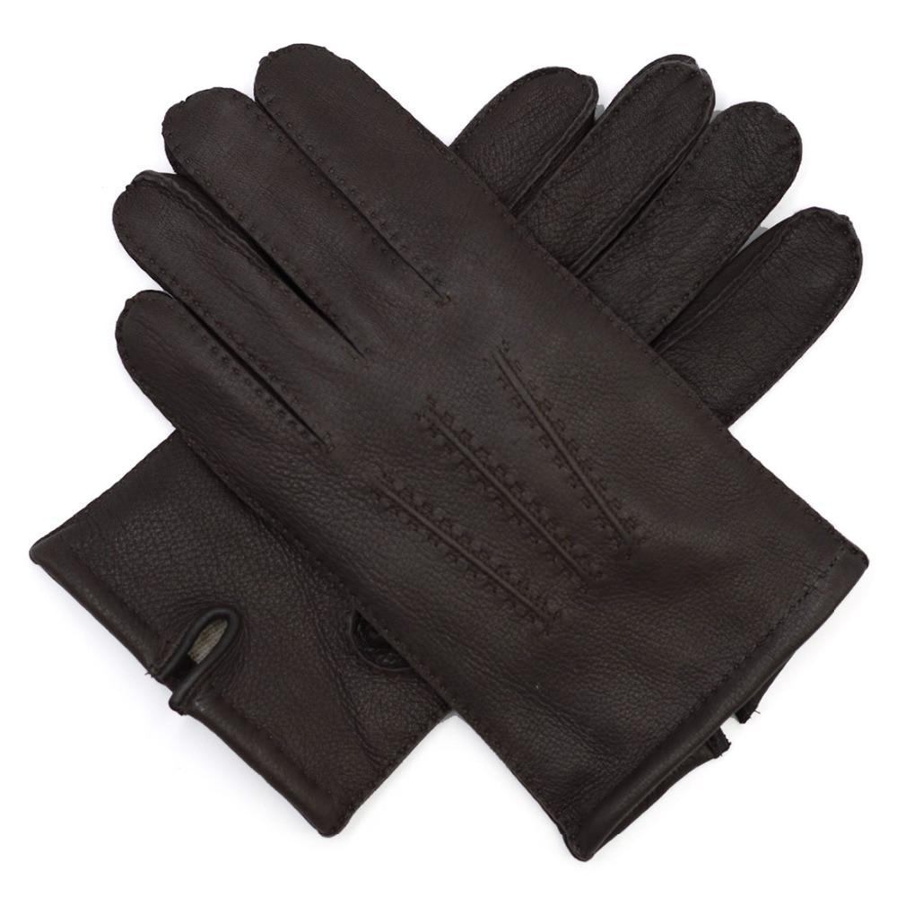 Harssidanzar-Mens-Deerskin-Leather-Gloves-Cashmere-Lined-Vintage-Finished-Brown