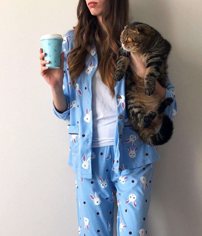 Женская пижама с зайками с Алиэкспресс