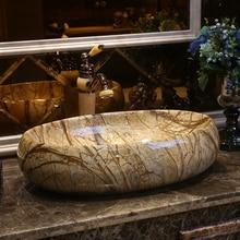 Американский стиль искусство столешница умывальник керамическая ванная раковина туалет овальная мраморная раковина для умывания фарфоровая