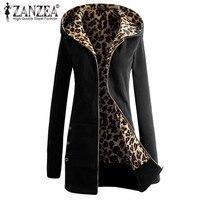 ZANZEA Women Coat Hooded Sweatshirt Outwear Leopard Long Sleeve Coat 2017 New Autumn Winter Casual Hoodies