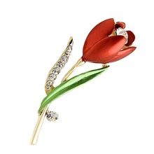 Sweet Style Bridal Enamel Crystals Inalid Flower Red Rose Brooches Pins for Women Wedding Jewelry