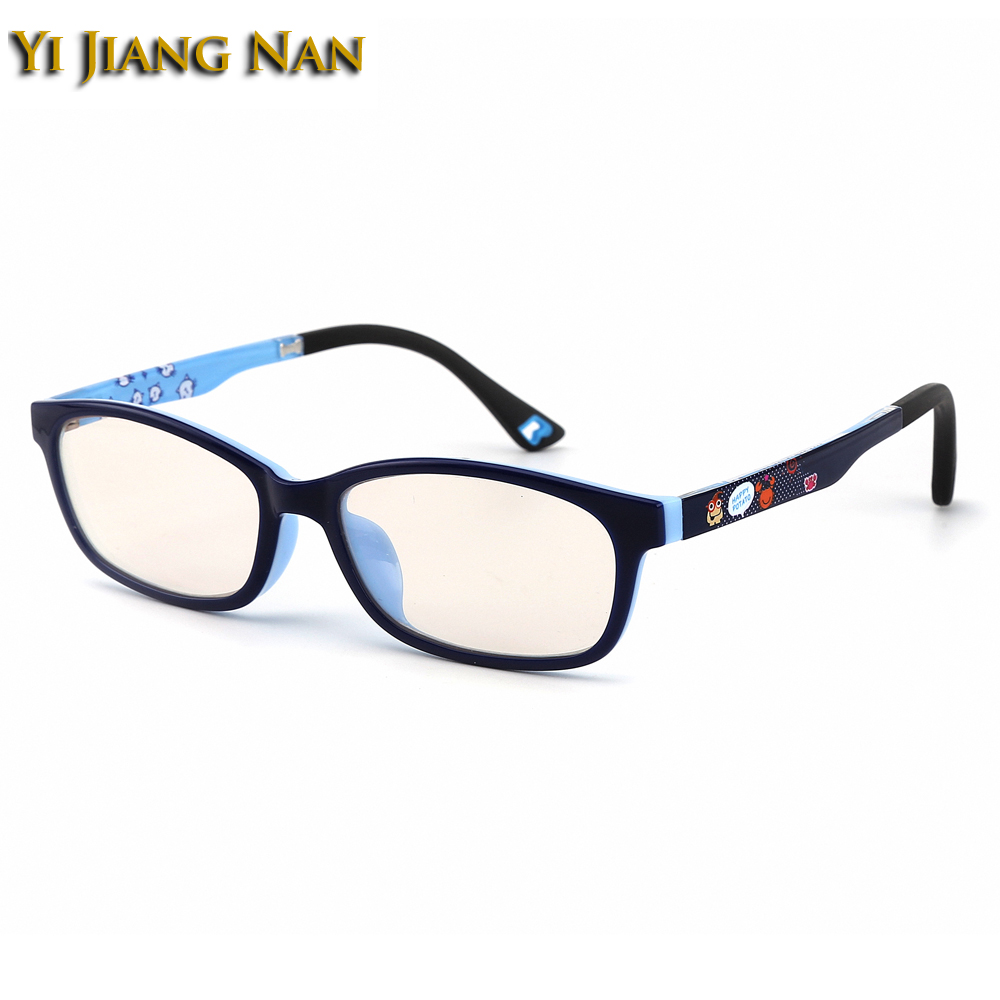 Yi Jiang Na Brand TR90 Kids Anti Blue Ray Block Prescription Lenses Boys Eyeglasses Yellow Color Computer 0 Degree Glasses