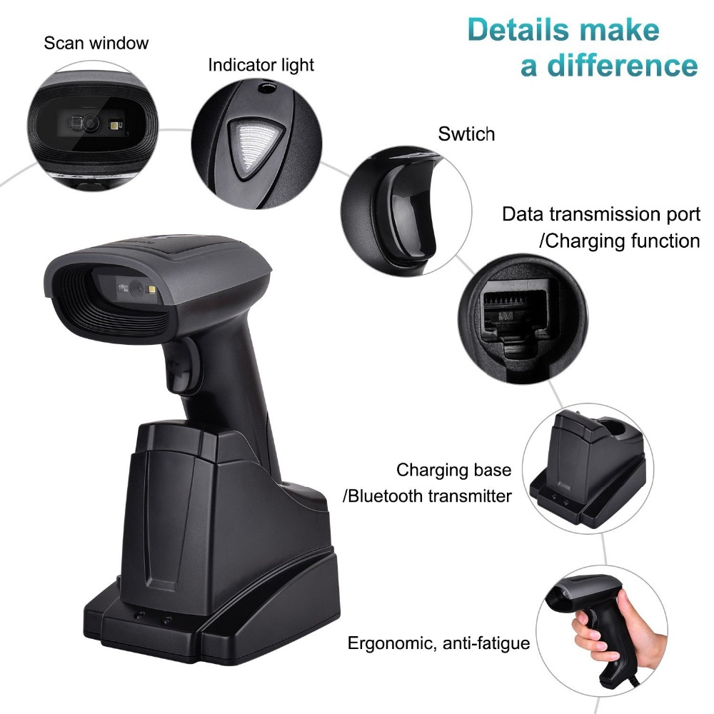 Handheld Bluetooth Barcode Scanner Wireless 2D QR Bar code Reader 2 in 1 Automatic Bar Code