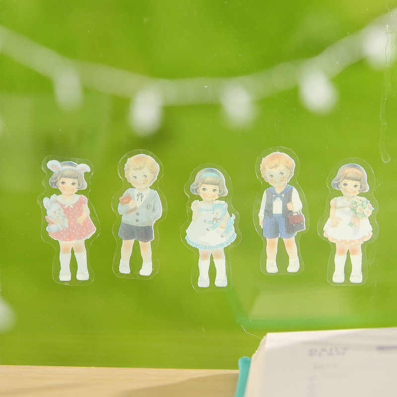 6PCS Lovely New Translucent DIY Paper Girls Combination Paper Doll Mate Children Notebook Stationery Decorative Stickers