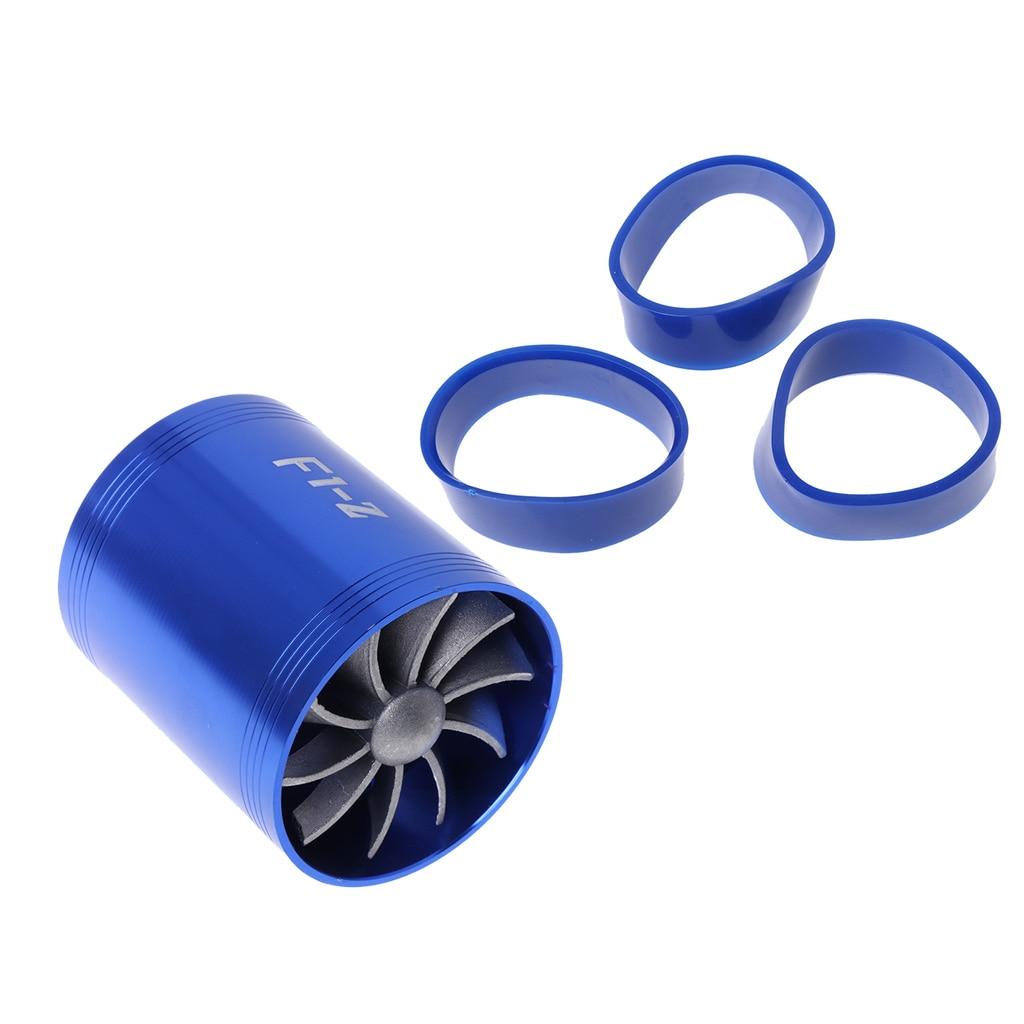 2017 Blue F1-Z Double Supercharger Fuel Gas Saver Fan Universal Turbine Turb Air Intake JUN14