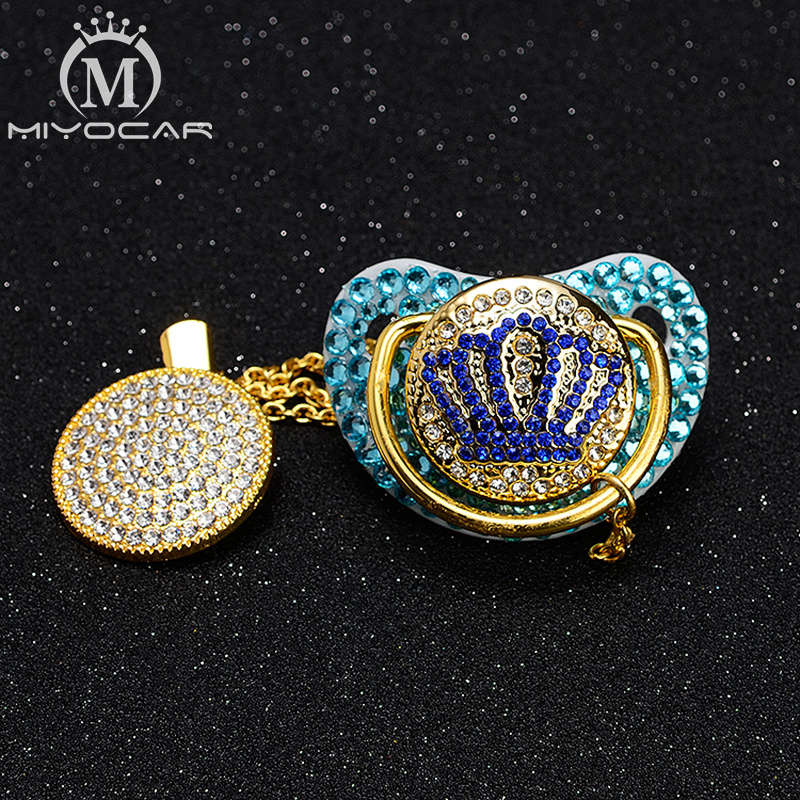 MIYOCAR All Blue Bling Pacifier Dummy Crown Pacifier Clip Holder Set BPA Free FDA Safe Pacifier Unique Design For Luxurious