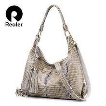 7da3537245 REALER femme sac en cuir véritable femmes sac à bandoulière femme motif  crocodile hobos sac avec gland sac à main grand sac mess.
