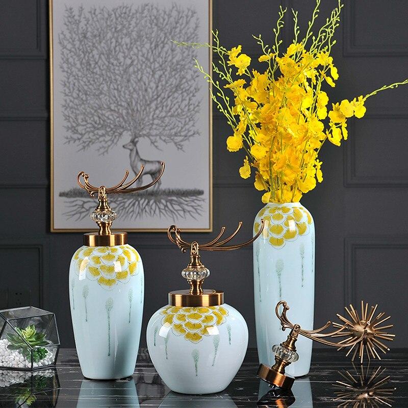 Américain nouvelle maison moderne salle à manger décoration Jingdezhen en céramique table gros Vases à fleurs avec couvercle