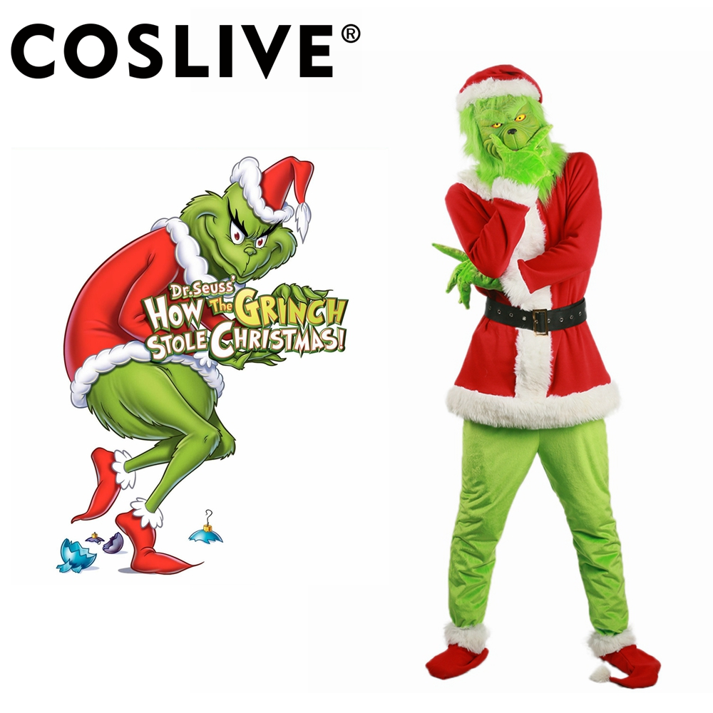 How The Grinch Stole Christmas Costumes.Us 129 59 28 Off Coslive Original Grinch Costume Movie How The Grinch Stole Christmas Cosplay Outfit Full Set Fancy Dress For Adults Party Show In
