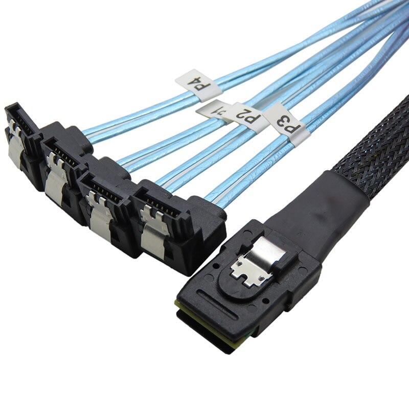 sas to sata cable Mini SAS 36P SFF-8087 to 4 SATA 7Pin 90 degrees target Hard Disk Data  ...