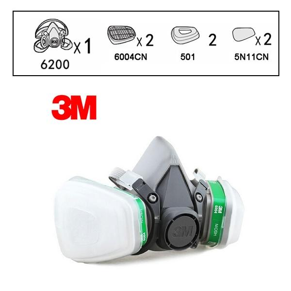 3 M 6200 + 6004 réutilisable demi masque respiratoire ammoniaque méthylamine cartouche de vapeur organique NIOSH & LA Standard LT048