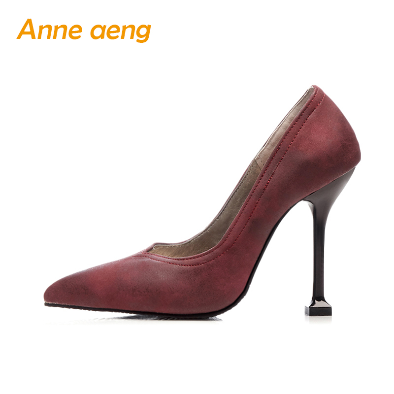 spring summer women pumps 11cm high thin heel pointed toe elegant classic office ladies big size 44 45 46 black red women shoes