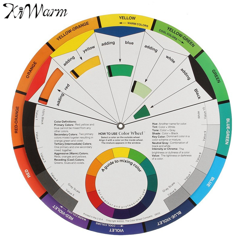 KiWarm Hot Selling Large Artists Colour Card Wheel Swatches Mixing Colour Guide Makeup Micro Pigment Ink Color Wheel DIY Craft ...
