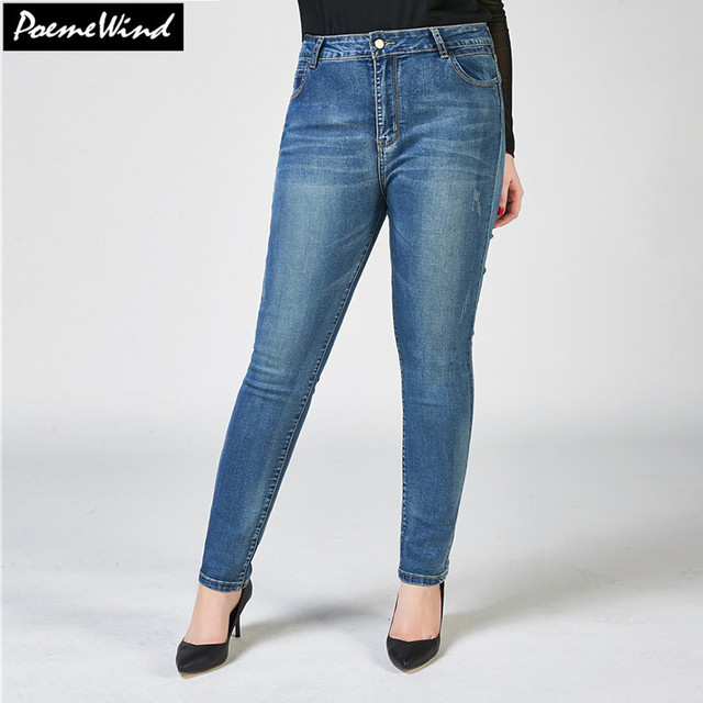 Plus Size Women Autumn Denim Jeans With High Waist Jeans For Woman 2017 Blue Solid Casual Jeans Femme Washed Skinny Pants 38 40