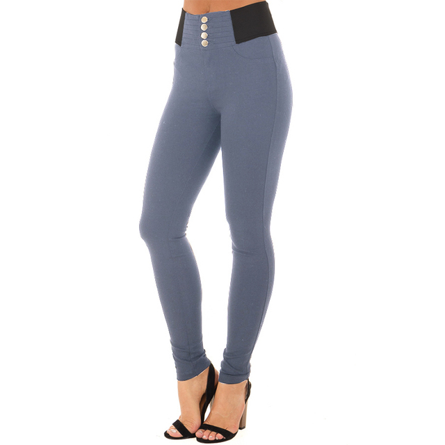 High Elastic Waist Casual Strech Skinny Basic Pant 1