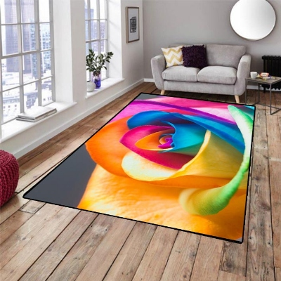 Else Yellow Red Green Blue Roses Flower 3d Pattern Print Non Slip Microfiber Living Room Decorative Modern Washable Area Rug Mat