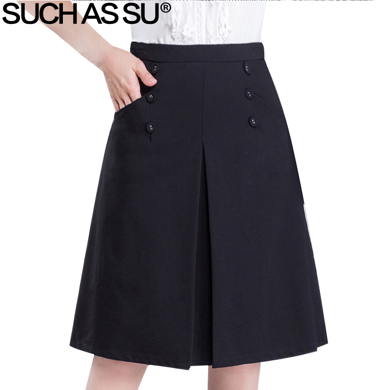 Brand New Knit Skirt Women Slim Black Button Pocket A Line Skirt S 3XL Plus Size 2017 Occupation Ladies Skirt