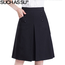 SUCH AS SU Knit Skirt Women Slim Black Button Pocket A-Line Skirt S-3XL Plus Size