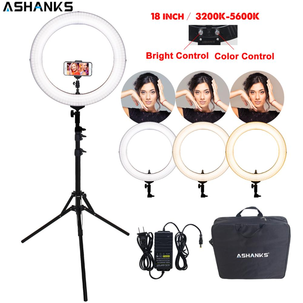 18'' Ring Light RL-18 LED Selfie Bi-color Photography YouTube Makeup Beauty Lamp With Stand Camera Photo Phone Video Accessories