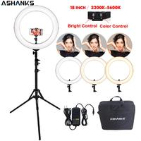 18'' Ring Light RL 18 LED Selfie Bi color Photography YouTube Makeup Beauty Lamp with Stand Camera Photo Phone Video Accessories