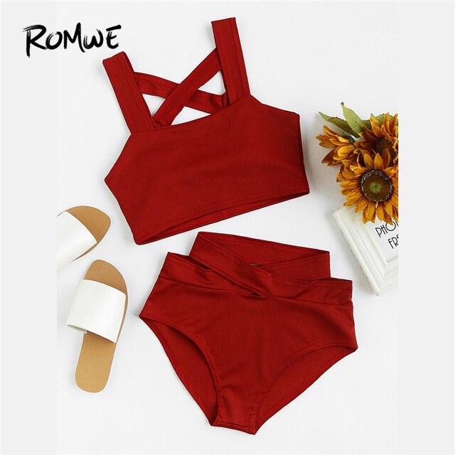 a17bd7631f29e Romwe Sport Criss Cross High Waist Bikini Set Female 2018 New Arrival Red  Plain Woman Clothing