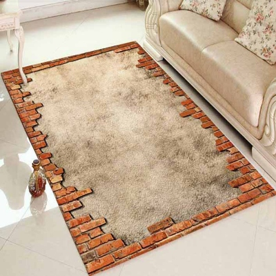 Else Blue Brick Stones Old Vintage Wall 3d Print Non Slip Microfiber Living Room Decorative Modern Washable Area Rug Mat