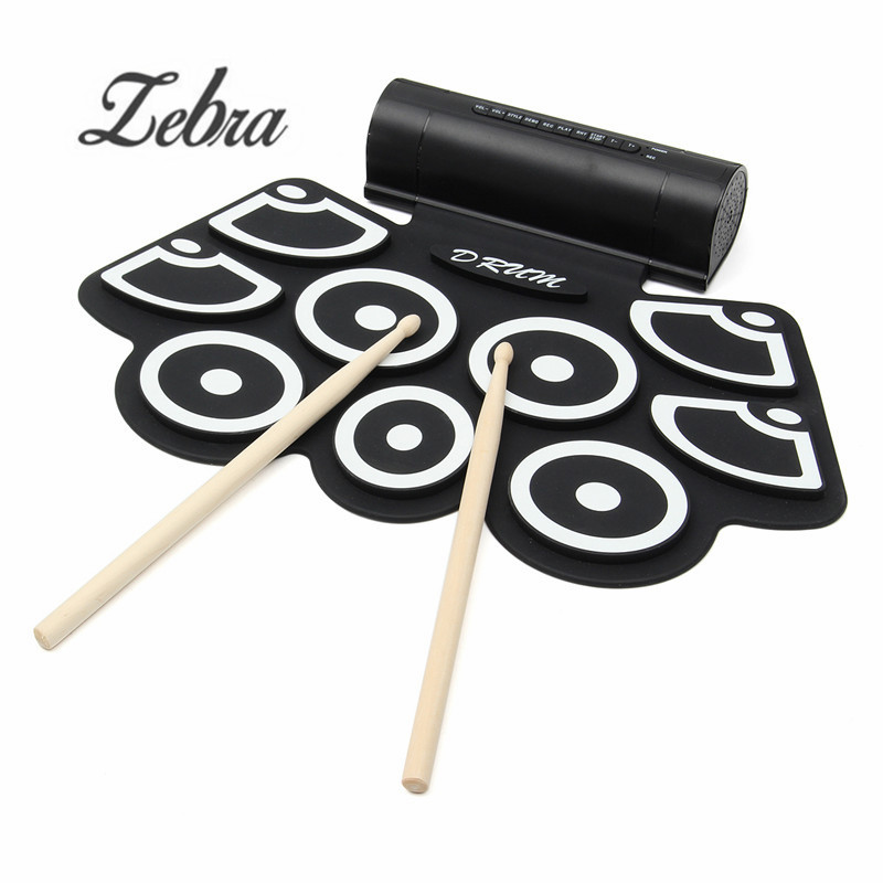 цена на Portable 9 Beat Built-in Speaker Roll up Electronic Drum Pad Set with Pedals and Drum Sticks For Practice Percussion Instrument
