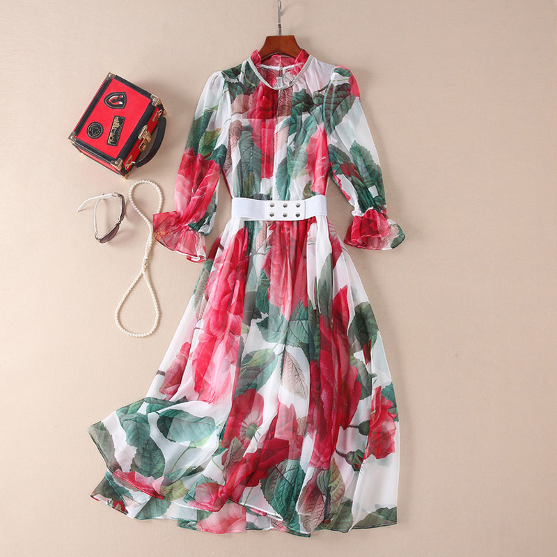 Brand New Runway Women Dress 2018 Summer Fashion Flower Print Sweet Midi Chiffon Dress Elegant Lady Party Dresses Vestidos женское платье brand new 2015 v midi vestidos dress