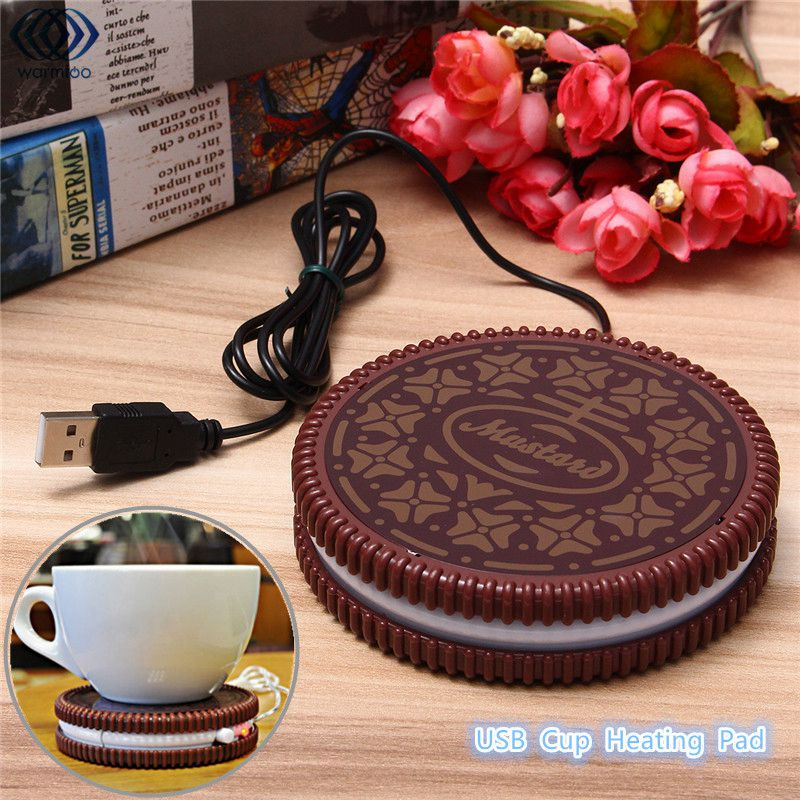 USB-POWERED UK Mat Cup Warmer Milk Heater Coffee Mug Drink Coaster Tea Insulation USB Mug Heating Pad COOKIE Design Cup