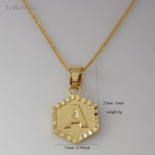 "Min order 10$ /26 LETTERS -GOLD GP 18"" NECKLACE&LETTER A B C D E F G H K L M N R S T Z INITIAL HEXAGONAL PENDANT(China)"