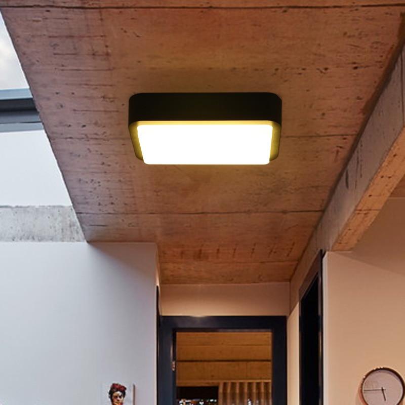 現代のミニマリズム LED 天井ランプアルミ平方屋外黒/グレー創造的人格壁ランプバルコニー廊下通路  グループ上の ライト & 照明 からの シーリングライト の中 1