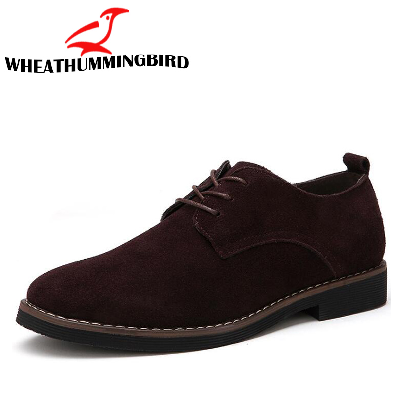 Male Dress Shoes Pointed Toe Business Formal Shoes  Men Office Shoes Suede leather Retro Oxford Shoes BIG Size 38-48  LC-20